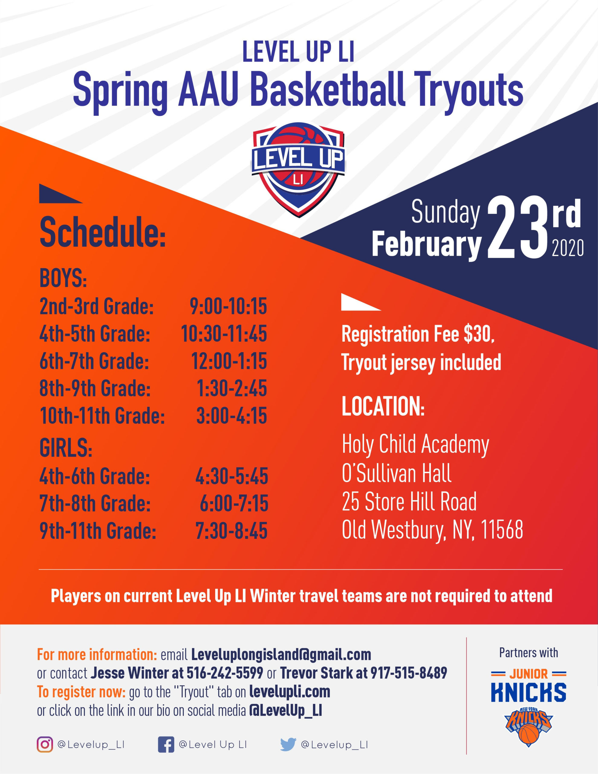 2020 Level Up LI Spring Tryouts